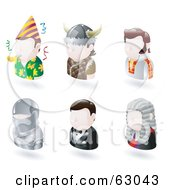 Royalty Free RF Clipart Illustration Of A Digital Collage Of Six Avatar People Party Guy Viking Elvis Knight James Bond And A Judge by AtStockIllustration
