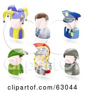 Royalty Free RF Clipart Illustration Of A Digital Collage Of Six Avatar People Jester Businessman Police Officer Robin Hood Roman Soldier And A Modern Soldier by AtStockIllustration