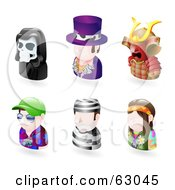 Royalty Free RF Clipart Illustration Of A Digital Collage Of Six Avatar People Grim Reaper Pimp Samurai Tourist Prisoner And A Hippie by AtStockIllustration