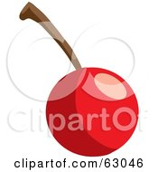 Royalty Free RF Clipart Illustration Of A Shiny Red Bing Cherry With A Stem