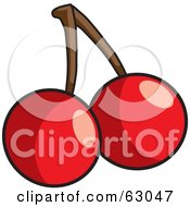 Royalty Free RF Clipart Illustration Of Two Shiny Red Bing Cherries With A Stem