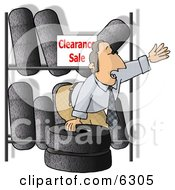 Salesman Trying To Sell Tires On Clearance Clipart Picture