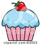 Royalty Free RF Clipart Illustration Of A Strawberry Garnish On A Cupcake With Blue Frosting by Rosie Piter