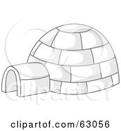 Royalty Free RF Clipart Illustration Of An Igloo With Gray Shadows