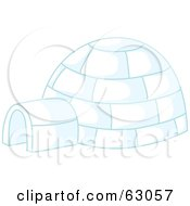 Royalty Free RF Clipart Illustration Of An Igloo With Blue Lighting