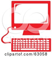 Retro Styled Red Desktop Computer
