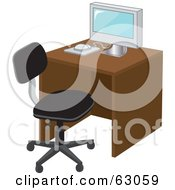 Modern Computer On A Desk With A Black Chair