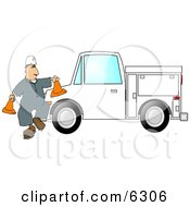 Worker Putting Out Cones Around His Utility Truck Clipart Picture