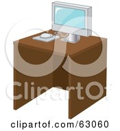 Royalty Free RF Clipart Illustration Of A Modern Computer On A Wood Desk