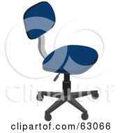 Royalty Free RF Clipart Illustration Of A Simple Blue Computer Chair