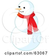 Carrot Nose Snowman Wearing A Red Scarf