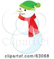 Carrot Nose Snowman Wearing A Red Scarf And Green Hat