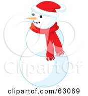 Carrot Nose Snowman Wearing A Santa Hat And Red Scarf