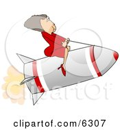Successful Businesswoman Riding A Rocket Clipart Picture
