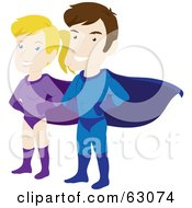 Royalty Free RF Clipart Illustration Of A Caucasian Super Hero Couple Standing Proud by Rosie Piter #COLLC63074-0023