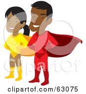 Royalty Free RF Clipart Illustration Of A Proud Hispanic Super Hero Couple by Rosie Piter