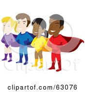 Royalty-Free (RF) Clipart Illustration of a Team Of Male And Female Hispanic And Caucasian Super Heroes by Rosie Piter #COLLC63076-0023