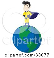 Royalty-Free (RF) Clipart Illustration of a Caucasian Super Hero Guy Standing On Top Of The Earth by Rosie Piter #COLLC63077-0023