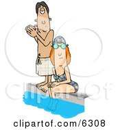 Swimmers Beside A Pool Clipart Picture