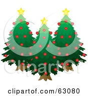 Royalty Free RF Clipart Illustration Of Three Evergreen Trees Decked Out In Red Ornaments And Yellow Stars by Rosie Piter