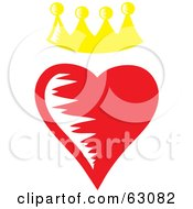 Royalty Free RF Clipart Illustration Of A Yellow Crown Over A Red Heart by Rosie Piter