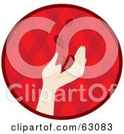 Royalty Free RF Clipart Illustration Of Red Hearts Floating Down Onto A Caucasian Hand In A Red Circle