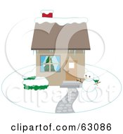 Royalty Free RF Clipart Illustration Of A Snowman In The Yard Of A Home In Winter by Rosie Piter