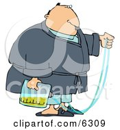 Obese Man With A Medical Condition That Requires The Use Of A Catheter And Urine Bag Clipart Picture