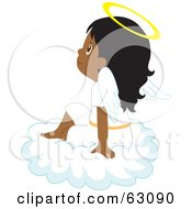 Royalty Free RF Clipart Illustration Of An Innocent Indian Angel Girl Sitting On A Cloud by Rosie Piter