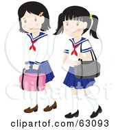 Royalty Free RF Clipart Illustration Of Two Little School Girls In Uniforms Carrying Bags