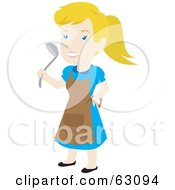 Royalty Free RF Clipart Illustration Of A Blond Woman Wearing An Apron And Holding A Ladle by Rosie Piter