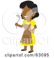 Royalty Free RF Clipart Illustration Of A Black Woman Wearing An Apron And Holding A Ladle by Rosie Piter