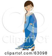 Royalty Free RF Clipart Illustration Of A Beautiful Indian Woman Wearing A Bindi And A Blue Dress
