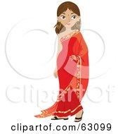 Beautiful Indian Woman Wearing A Bindi And A Red Dress