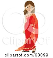 Beautiful Indian Woman Wearing A Bindi And A Red Dress