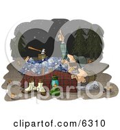 Two Men Camping Together Under The Starry Night Sky Clipart Illustration