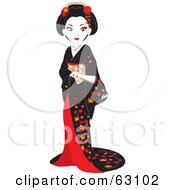 Royalty-Free (RF) Clipart Illustration of a Beautiful Geisha Woman In A Black And Red Dress by Rosie Piter