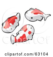 Royalty Free RF Clipart Illustration Of Animal Factor White And Orange Koi Fish by Leo Blanchette