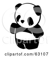 Royalty Free RF Clipart Illustration Of An Animal Factor Panda Bear Waving by Leo Blanchette