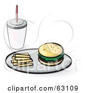 Tray With French Fries And A Hamburger Served With A Soda
