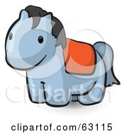 Royalty Free RF Clipart Illustration Of An Animal Factor Gray Pony With An Orange Blanket by Leo Blanchette