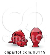 Royalty Free RF Clipart Illustration Of Red Animal Factor Fish One On A Fishing Line