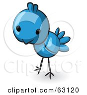 Royalty Free RF Clipart Illustration Of A Cute Little Animal Factor Blue Bird by Leo Blanchette