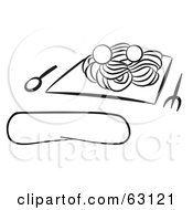 Royalty Free RF Clipart Illustration Of A Black And White Spaghetti And Meatballs Meal