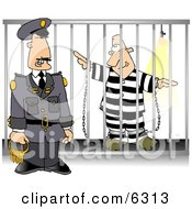 Guard With Keys Standing Beside A Prisoner In Jail Cell Clipart Picture