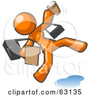 Royalty Free RF Clipart Illustration Of An Overwhelmed Orange Woman Slipping On A Puddle Of Water