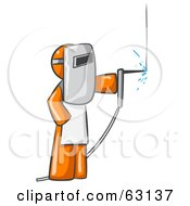 Royalty Free RF Clipart Illustration Of An Orange Man Welding Wearing Protective Gear