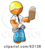 Orange Man Construction Site Supervisor Holding A Clipboard