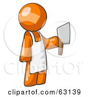 Royalty Free RF Clipart Illustration Of An Orange Man Butcher Holding A Meat Cleaver Knife