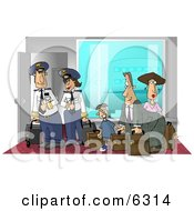 Female And Male Pilots Ready To Board A Plane With Passengers Clipart Picture
